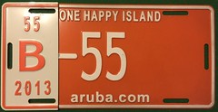 ARUBA 2013---BUS PLATE #B-55 (woody1778a) Tags: aruba caribbean nederland antilles tropical woody woody1778a mycollection myhobby onehappyisland 2010s arubacom licenseplate registrationplate numberplate
