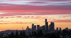 Seattle Sunset (PiscesDreamer) Tags: seattle city sunset summer urban usa skyline america washington unitedstates dusk jeffersonpark spaceneedle safecofield beaconhill