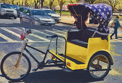 An American Rickshaw (creepingvinesimages - struggling to keep up!) Tags: blue red colors yellow outdoors dc washington nikon starsandstripes topaz adjust hss pedalpower nationscapital d7000 pse14