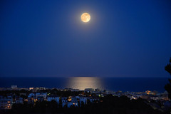 Segur de Calafell, Spain (D-A-O 1 Million Views! Thank you!) Tags: blue reflections evening midsummer horizon solstice moonrise bluehour mediterraneansea strawberrymoon cunit