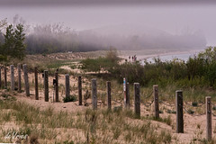 A family walk . . . (Dr. Farnsworth) Tags: family beach fog bay sand walk dune lakemichigan grasses posts glenhaven sleepingbear beautifulcapture fantasticnaturegroup