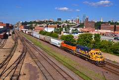 """Westbound Transfer in Kansas City, MO (""""Righteous"""" Grant G.) Tags: city railroad west power pacific union railway missouri kansas transfer freight bnsf westbound emd"""
