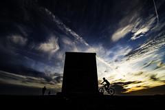 Billinge Beacon Sunset (ianandbarbara.bonnell@btinternet.com) Tags: uk sunset england sky bicycle silhouette clouds landscape wideangle sthelens merseyside billinge billingehill