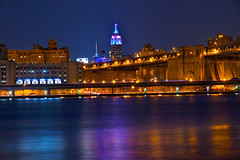 Spring Night in the Empire State (SunnyDazzled) Tags: city nyc longexposure newyork building water colors night reflections river lights colorful state pastel east empire lighttrails blend takenin3layers