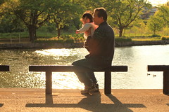 Father and Child at Pond (Spice  Trying to Catch Up!) Tags: family sunset portrait people baby holiday man color male love water girl face japan female bench daddy geotagged asian photography japanese pond infant asia thought child affection father human babygirl passion  papa feeling kindness bonds bata   tenderness bonding anak   babae hija fatherandchild     goldenweek    springseason        lalaki