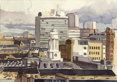 Glasgow skyline (Wil Freeborn) Tags: college glasgow le postcards corbusier wayercolour
