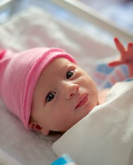 Keira Ann Seidman (Lon Seidman) Tags: baby hat eyes infant birth waving