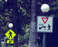 Yield here for Pedestrians (Traffic signal Guy 14) Tags: california signs for crossing pedestrian here pasadena yield pedxing yielding