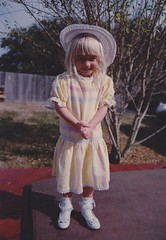 little me (foxesandfigs) Tags: family film girl hat childhood yellow ruffles dress little frilly ruffle frills frill