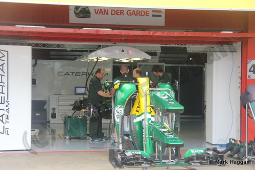 Giedo van der Garde's Caterham pit garage at the 2013 Spanish Grand Prix