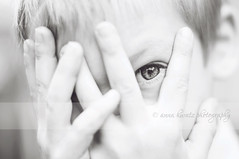 I See You (AnnaHwatz) Tags: boy portrait eye closeup mono hands peekaboo peeking odc2 peekingthroughfingers