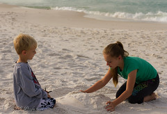 Grandson & granddaughter (Rick Smotherman) Tags: ocean beach gulfofmexico nature canon children outdoors 50mm morninglight spring sand florida sister brother 7d grandkids destin canon7d