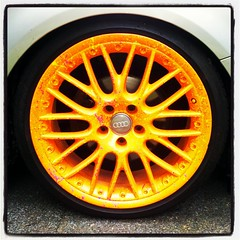 Orange Rims On An Audi Wagon (Joe Shlabotnik) Tags: cameraphone orange wheels tires audi rims hubcaps 2013 droid2 may2013 instagram
