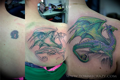 tommicrazy (Tommicrazy Tattoos) Tags: uk green up tattoo manchester amazing wings dragon purple cover shoulder coverup middleton shoulderblade tomart tattommi tommicrazy