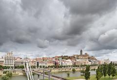 La Seu Vella amb núvols (Joan Blanch) Tags: wood city bridge clouds river day cloudy arbres pont ciutat riu lleida núvols seuvella segre