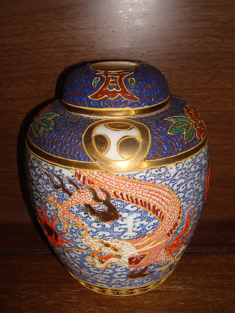 Signed raised enamel dragonware ginger jar (DragonwareCollector) Tags:  japan vintage dragon antique pottery
