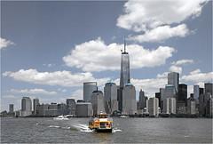 New York Waterways (Sandra OTR) Tags: new trip newyork building public water yellow ferry skyline manhattan cab transport wtc waterway