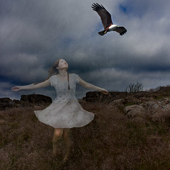 Fly away with me (Tiina Petersson) Tags: portrait selfportrait bird texture nature girl landscape photography photo photographer eagle sweden fantasy montage dreamy layers sjlvportrtt portrtt artphotography konstfoto nragat