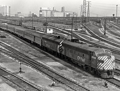 "The ""Canadian"" departs Toronto, Ontario, for the west, 1976. (Ivan S. Abrams) Tags: blackandwhite newcastle pittsburgh butler bo ge prr ble conrail alco milw emd ple 2102 chessiesystem westmorelandcounty 4070 bessemerandlakeerie steamtours pittsburghandlakeerie ivansabrams eidenau steamlocomtives ustrainsfromthe1960sand1970s"
