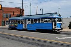 Main Street Trolley, Memphis Tennessee (Cragin Spring) Tags: city blue urban publictransportation tn memphis tennessee trolley transportation streetcar mata memphistn memphistennessee mainsttrolley