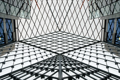 A riot of rhombi (The Green Album) Tags: street light house london geometric architecture diamonds reflections pattern fuji baker exterior open interior headquarters structure 55 atrium offices marksspencers xe1