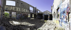 Destroyed building Pano (Nick b4 dark) Tags: urban decay nevada destroyed crumbling collapsed grafetti virginacity