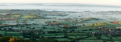 Mist on Somerset Levels at dawn (Mukumbura) Tags: uk morning autumn trees light england panorama mist beauty fog sunrise landscape outdoors dawn countryside october scenery somerset hills tranquil priddy somersetlevels peacefulscene mendiphills deerleap welcomeuk