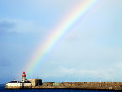 That's Where You'll Find Me (Carmel..) Tags: blue ireland sea sky lighthouse white wall clouds pier rainbow colours harbour eastpier dunlaoghaire codublin coth5