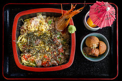 Diced Chirashi Don and Steamed Veggies Combo from Guu Garden ($13.80) (qasic) Tags: food seaweed fruit japanese rice sashimi salmon tuna