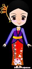 รูปการ์ตูน-Asean-Dress-ผู้หญิงอินโดเนเซีย