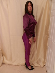 Purplelicious 10 (Karen Brent) Tags: shoes highheels tgirl transvestite satin crossdresser spandex stilettos discopants tightandshiny satinshirt discojeans vision:people=099 vision:face=099 vision:text=0589