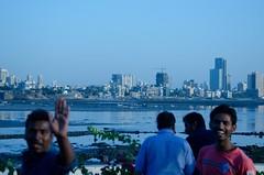 Caught some Smiling Faces (David Warlick) Tags: india smile wave surprise lowtide mumbai asbunplugged