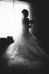 S&L Wedding 1 (ericigonzalez) Tags: wedding portrait woman white black monochrome female photography bride veil dress bouquet gown bridal