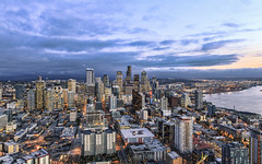 Seattle from Space Needle (Sarmu) Tags: seattle city light sunset wallpaper urban usa building skyline architecture night america skyscraper port observation lights bay us washington twilight highresolution downtown cityscape view skyscrapers nightshot unitedstates harbour dusk widescreen 1600 highdefinition resolution northamerica wa 1200 spaceneedle cbd hd bluehour wallpapers 1920 vantage observationdeck vantagepoint ws 1080 2014 1050 720p 1080p urbanity 1680 720 digitalblending 2560 columbiacenter sarmu