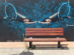 Bench On Stage (mikecogh) Tags: streetart bench weeds desire publicart reach acrobats hoops wonderwall portadelaide dependence