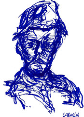 Capito Pifado (spamoufraude) Tags: blue portrait art face painting paper sketch artwork paint drawing marker draw dibujo