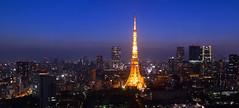 Nightfall (Ted Tsang) Tags: longexposure travel sky tower japan skyline night landscape tokyo twilight cityscape nightscape worldtradecenter olympus  tokyotower  bluehour  magichour minato observationdeck  em1 lighttrail       voigtlandernokton25mmf095