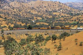 A southbound Union Pacific manifest train through Tehachapi Loop