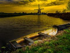 Boat & mill (Eric van Vessem) Tags: orange mill water yellow angstel molenthoogengroenland