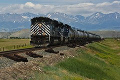East End Craziness - Big Timber, MT (MinnKota Railfan) Tags: santa railroad blue mountain snow mountains electric burlington train river crazy montana general engine peak rail railway loco fork glacier clark link locomotive fe peaks division northern ge bnsf mrl raillink emd electromotive