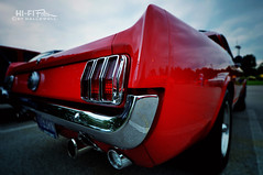 Pony Tail (Hi-Fi Fotos) Tags: original red ford vintage nikon 60s classiccar tail rear wide sigma pony chrome american americana 1960s behind mustang firstgeneration 6466 d5000 816mm hallewell hififotos