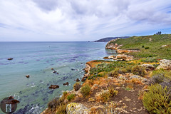 California-Central-Coast 2016-05-20 (randyandy101) Tags: ocean california sea sky panorama sun seascape seaweed reflection beach water rock clouds landscape outdoors photography coast seaside sand rocks whitewater surf waves view outdoor shoreline aquamarine rocky cliffs kelp shore vista coastline bluffs lowclouds sanluisobispo shimmering seafoam avilabeach californiacentralcoast