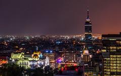 Mexico City skyline (urbanexpl0rer) Tags: longexposure nightphotography skyline mexico mexicocity cityscape nightshot palaciodebellasartes hiltonhotel cityshots torrelatinoaméricana