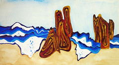 Watercolour painting of California waves and sandstone rock formations (elizabatz.jensen) Tags: california painting sandstone waves watercolour rockformations
