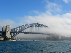 Fog Over Sydney Harbour Bridge (Pandymonium) Tags: morning bridge original water fog photography photo oz originalart australia icon photograph aussie laurel iconic sydneyharbour sydneyharbourbridge travelphotography originalphotography laurelathanassiou