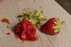 Squashed strawberries (Elisa.95) Tags: life wood red italy white macro green fruit still strawberry nikon details splash rosso explored