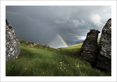 IN RAINBOWS (SwaloPhoto) Tags: summer green grass rain clouds scotland nationalpark rocks boulders cotton lochlomond thetrossachs arrocharalps argyllbute thehighlands fujixt1 fujinonxf16mmf14rwr