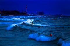 surfing in the evening - Tel-Aviv beach (Lior. L) Tags: blue sea beach evening israel telaviv waves bluesky surfing surfers bluehour surfingintheeveningtelavivbeach