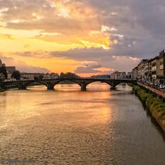 Florence Sunset (stephencurtin) Tags: street bridge sunset water river florence arno yellows iphone