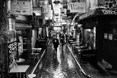 he only turned around for a moment (Keith Midson) Tags: street city people woman man men girl rain walking arcade melbourne busy rainy lane laneway raining centreplace outdoordining